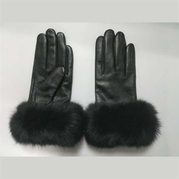 ORCHID GLOVE WITH FUR EDGE AND FINGER TOUCH - ORCHID HANDSKER SORTE