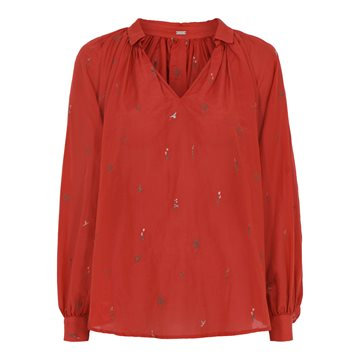Gustav Annsofie shirt with embroidery 37624 Fall Leave - Rød skjorte