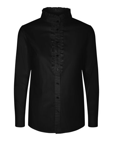 CO´ COUTURE FRILL POPLIN SHIRT - CO´ COUTURE SKJORTE SORT