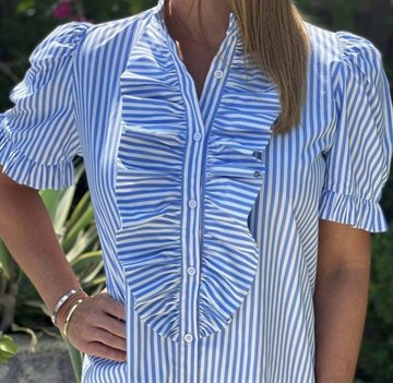 Design By Laerke The Queen Ruffle Kortærmet Shirt stribe blå / hvid bred stribe