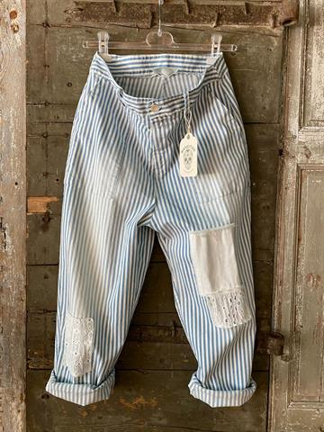 BANDITAS Santiago Pant  - Stripe baggy pant with patch.